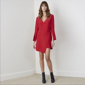 C/MEO Collective Night Air Wrap Red Mini Dress